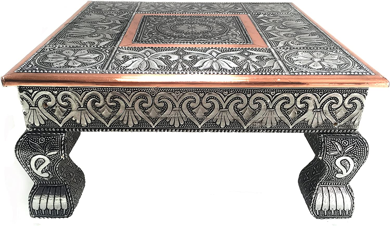 eRadius - Mesa baja de cobre oxidado, 30,5 x 30,5 cm, Bajot Bajhat hindú Pooja