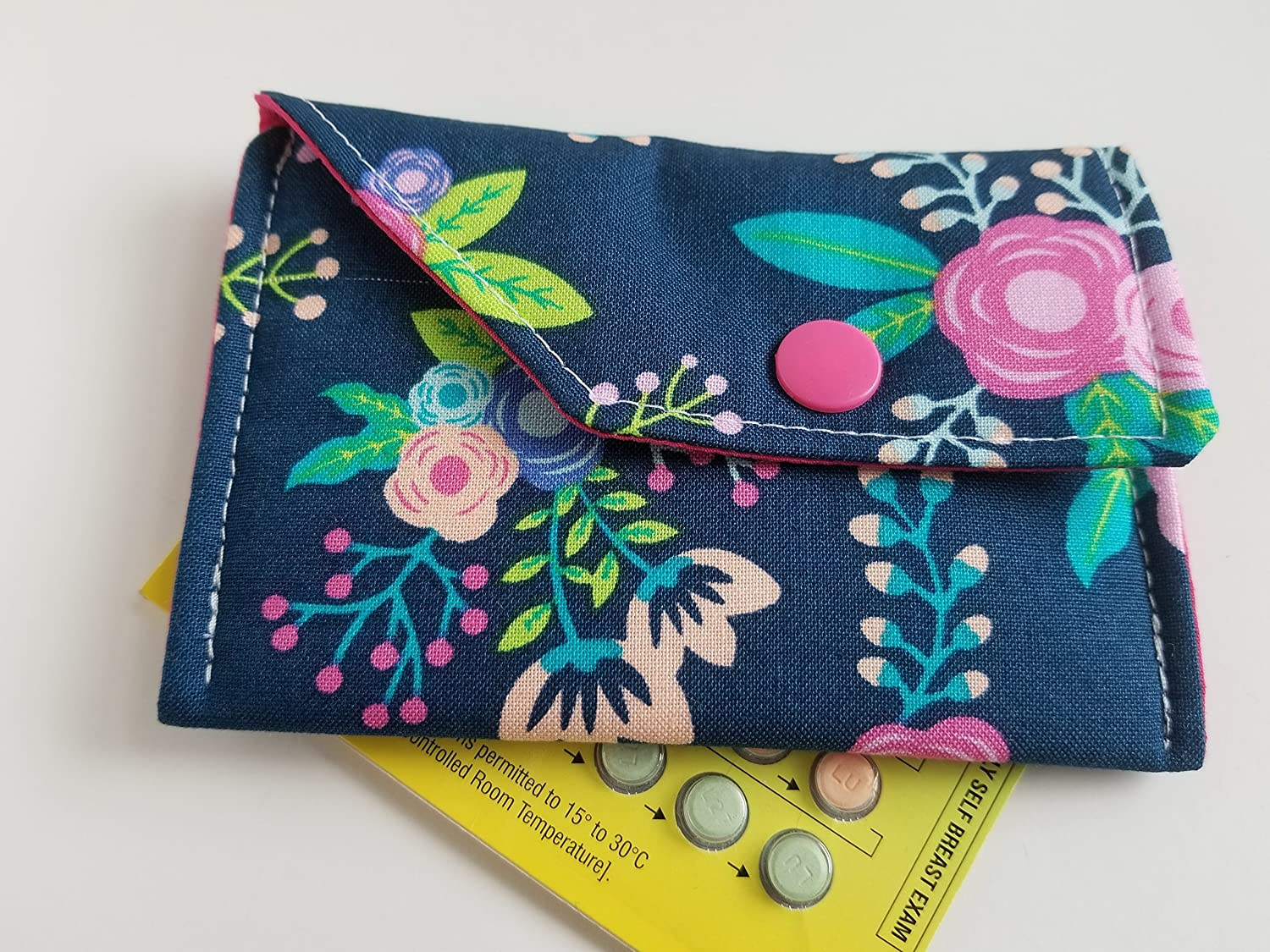 Birth Control Case Sleeve with Snap Closure and Optional Keychain Clip -Flowers on navy