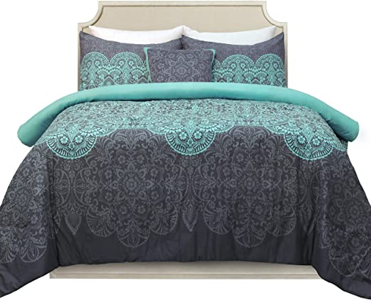 Paisley Design 24 Piece Bed in a Bag with Embroidered Detail Teal King Size