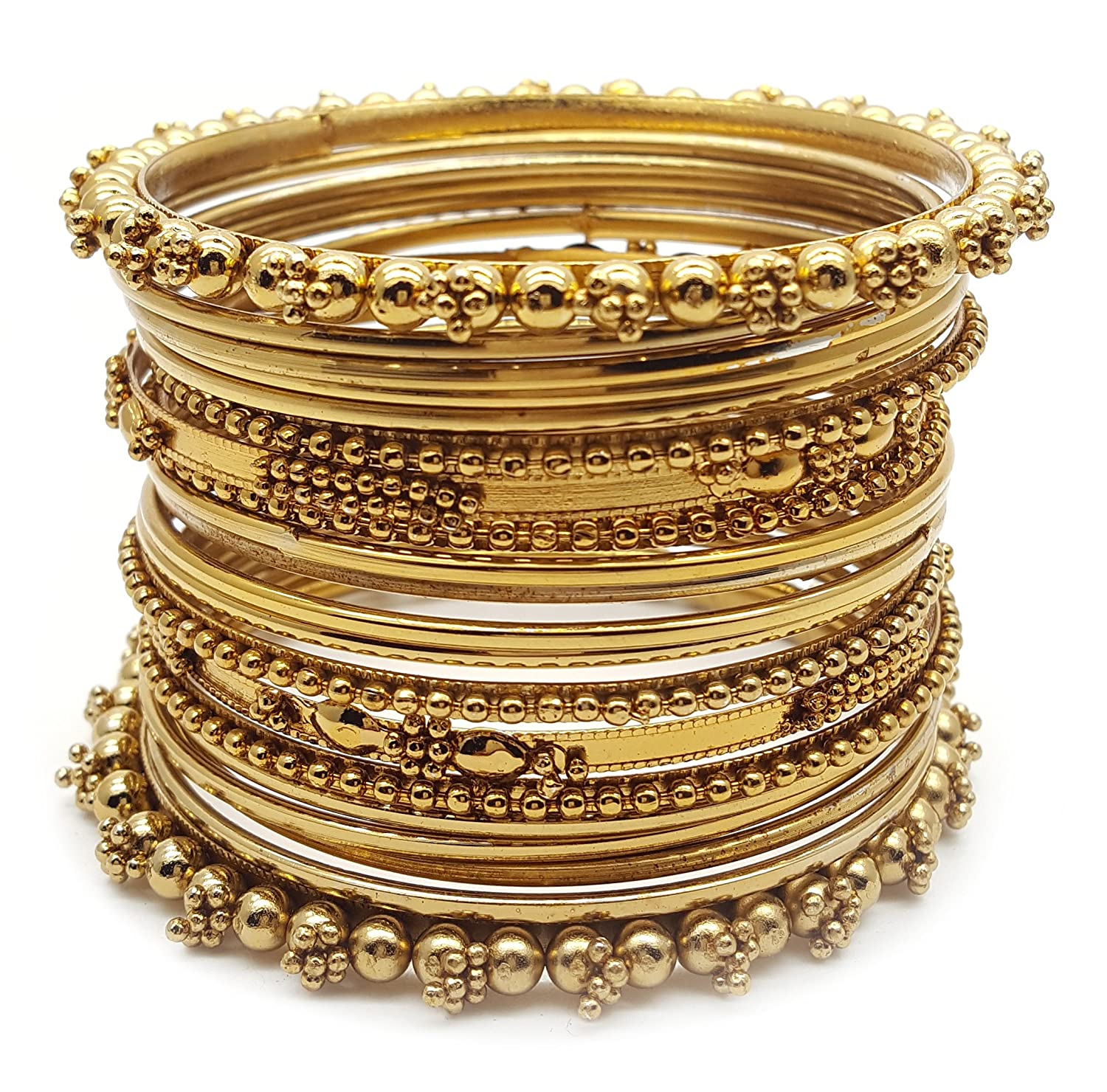 pc wrapped sz thread fashion itm par tone bangles gold set of metal