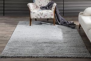 Perla Furniture Perla Shaggy Grey Area, Rug, 8x10', Rust