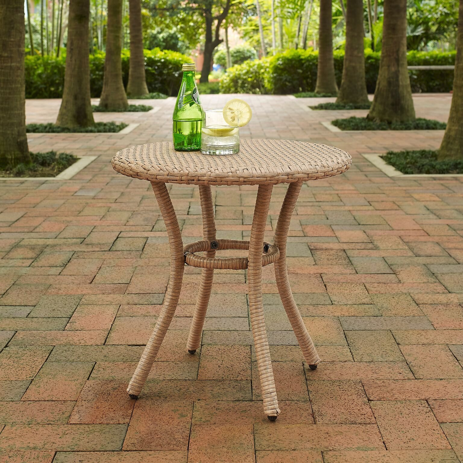 Crosley Furniture Palm Harbor Outdoor Wicker Round Side Table - Light Brown