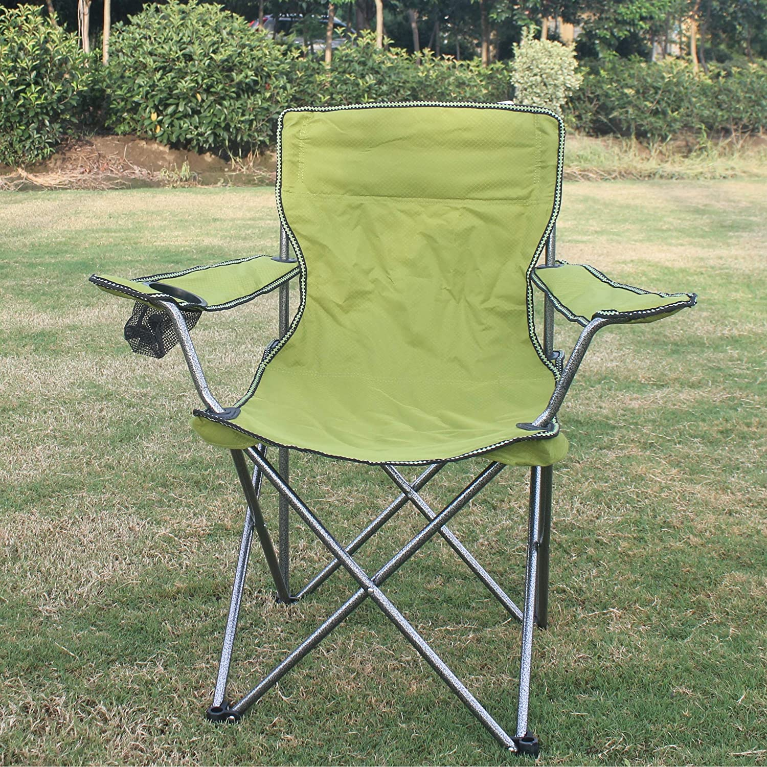 cmarte Foldable Outdoor Chair with Mesh Cup Holder for Picnic, Camping, Fishing Beach Party
