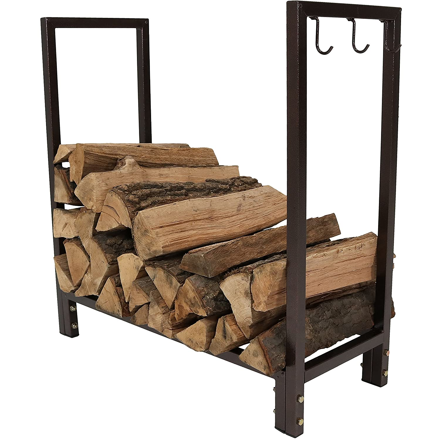 Sunnydaze Firewood Log Rack, Indoor Outdoor Wood Storage Holder for Fireplace, Bronze, 30 Inch