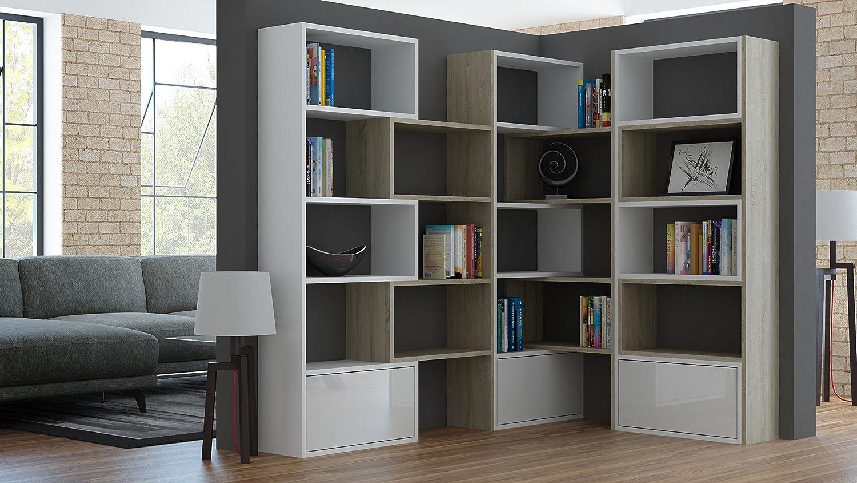 BMF Paco XXL Ausziehbares Bücherregal, einzigartiges geometrisches Design, in 3Farben,groß SONOMA OAK / WHITE