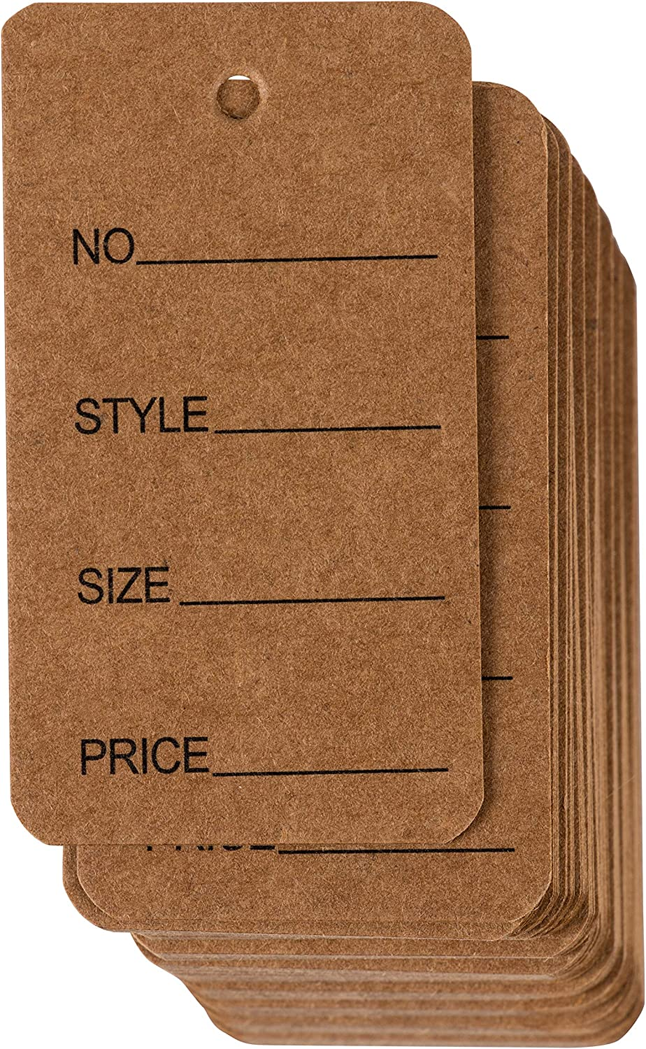 Price Tags - 1000-Pack Cloth Tags, Garment Tags, Writable Tags, Hang Labels, Size Name Style Tag, Kraft Paper Tag, for Business, Retail, Shop, Natural Brown, 1.5 x 2.7 Inches