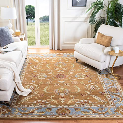 Safavieh Heritage Collection HG812A Handcrafted Traditional Oriental Brown and Blue Wool Area Rug 9 x 12