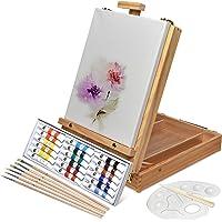 Artina Set de Pintura DE 27 Piezas con Caballete Maletín Colores acrílicos y Distintos Accesorios Artísticos