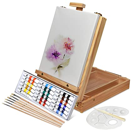 828bafe83 Artina Florenz Box Easel Artists Painting Set with 18 Acrylic Paints 6  Brushes & Canvas Art Table Easel with Supplies: Amazon.co.uk: Kitchen & Home