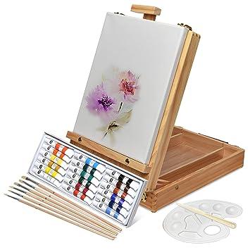 Artina Set pittura in valigetta Florenz 28 unità  cassetta e cavalletto da  tavolo tela colori acrilici pennelli spatola  Amazon.it  Casa e cucina f747a1050b7a