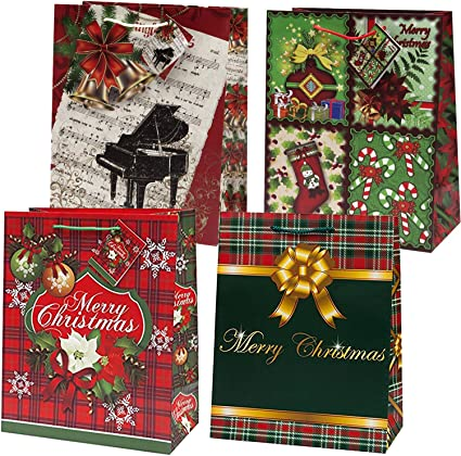 Candy Canes /& Snowflake Christmas Design Homemade Fabric Gift Bag