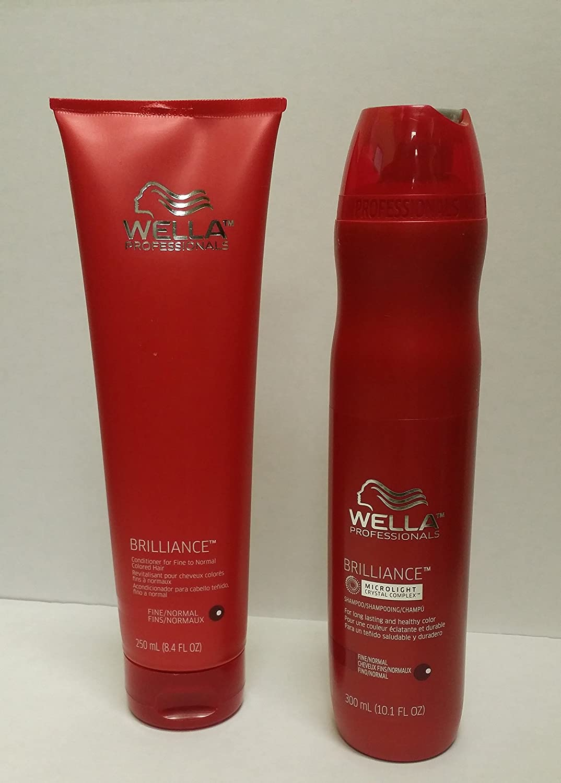 Wella Brilliance DUO Color Care for Fine/Normal Hair Shampoo 10.1 oz and Conditioner 8.4 oz