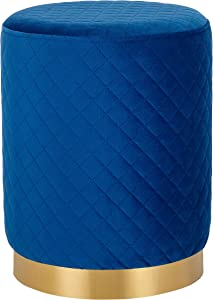 BIRDROCK HOME Round Blue Velvet Ottoman Foot Stool with Lattice Design – Soft Compact Padded Stool – Gold Trim - Great for The Living Room or Bedroom – Decorative Furniture – Foot Rest