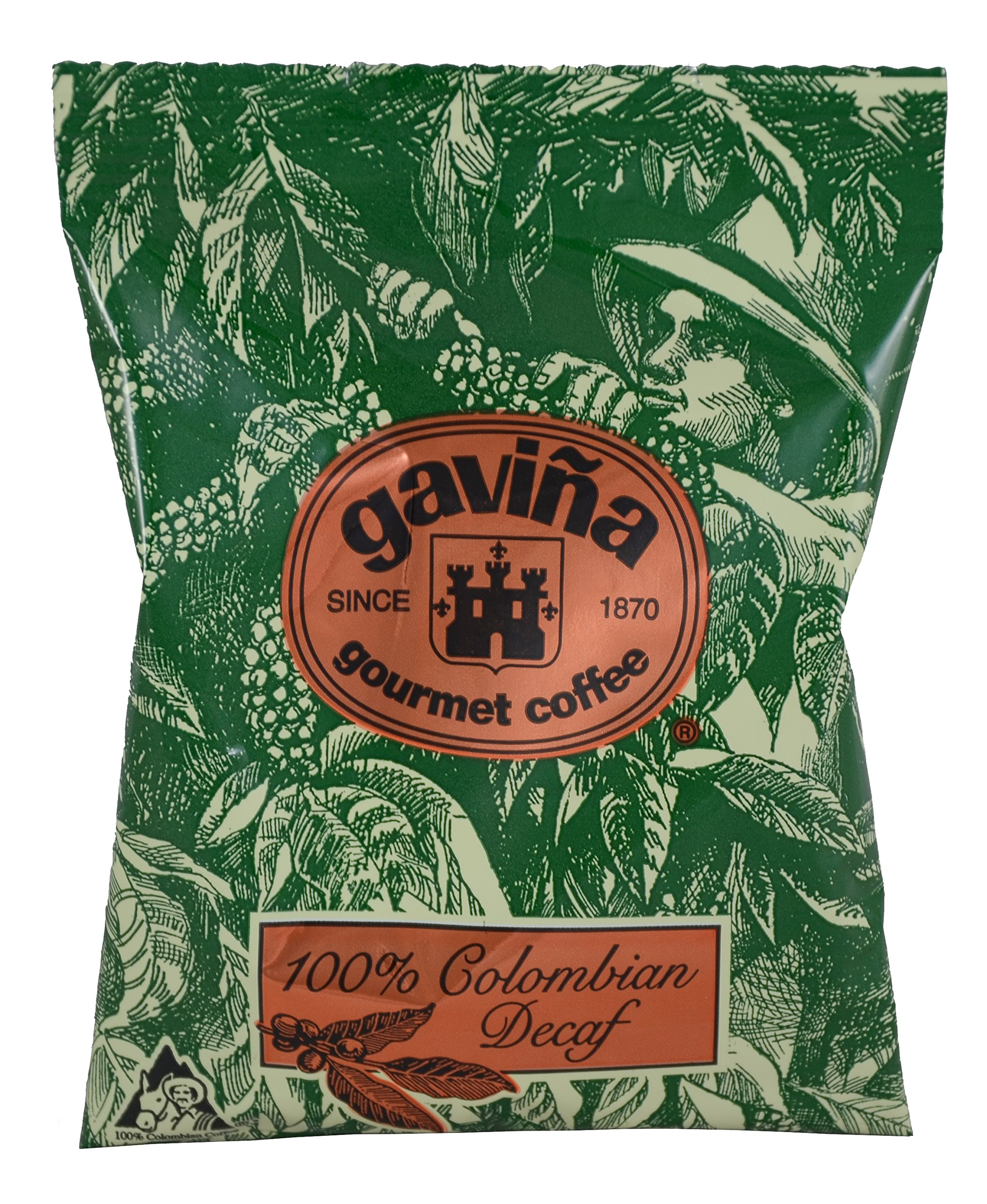 Gavina Decaf 100% Colombian Ground Pre-Portioned Packs 42x1.75 Oz #733
