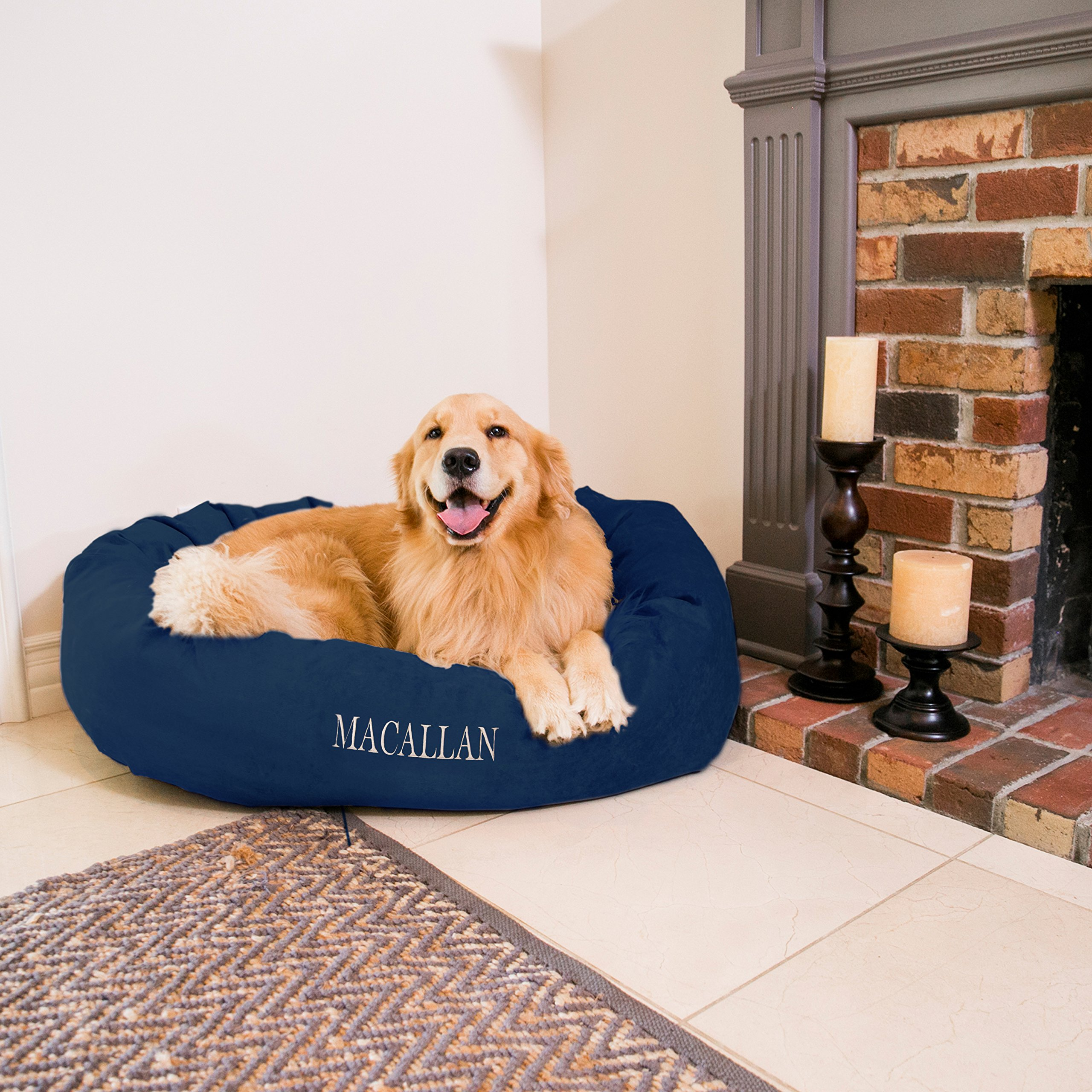 Majestic Pet Personalized Bagel Dog Bed - Machine Washable - Soft Comfortable Sleeping Mat - Durable Supportive Cushion Custom Embroidered - Available Replacement Covers - Large Navy Blue by Majestic Pet
