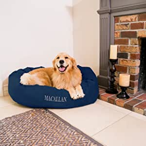 Personalized Majestic Pet Bagel Style Dog Bed - Machine Washable Mattress - Soft Comfortable Sleeping Mat - Durable Bedding Supportive Cushion Custom Embroidered Dog Bed - available replacement covers