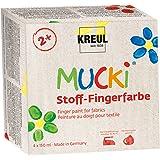 Mucki 28400 - Set di colori tessili per colorare con le dita, 4 pezzi