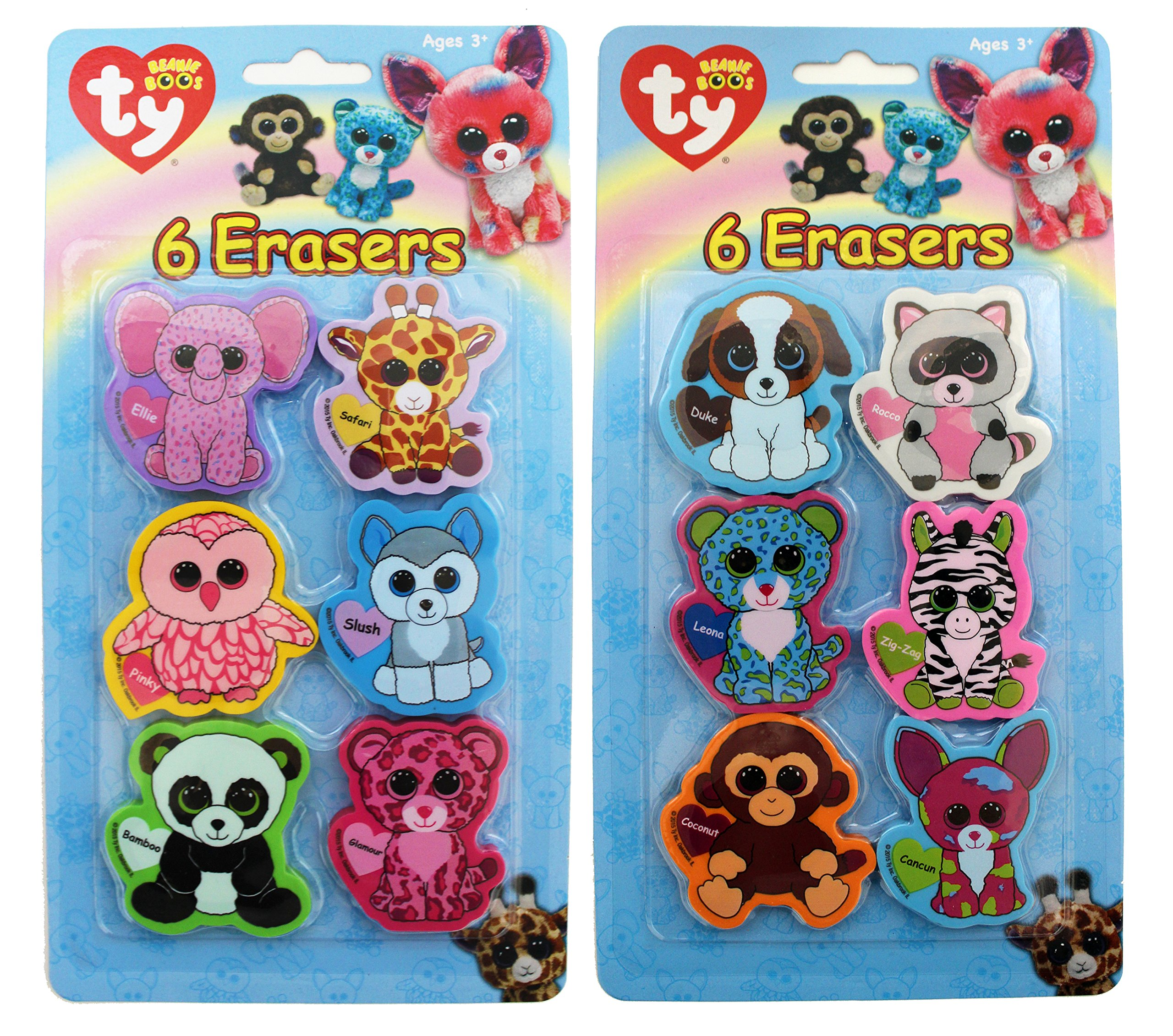 Ty Beanie Boos Die Cut Character Erasers, 2 x 2 Inches Each, Pack of 6, Assortment Will Vary (816-3) by Ty Beanie Boos