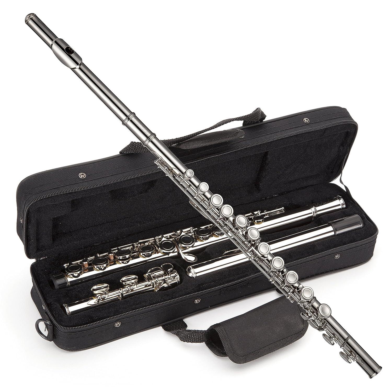 Windsor MI-1002 - Flauta niquelada para estudiantes con la tecla de división E incluye estuche rígido
