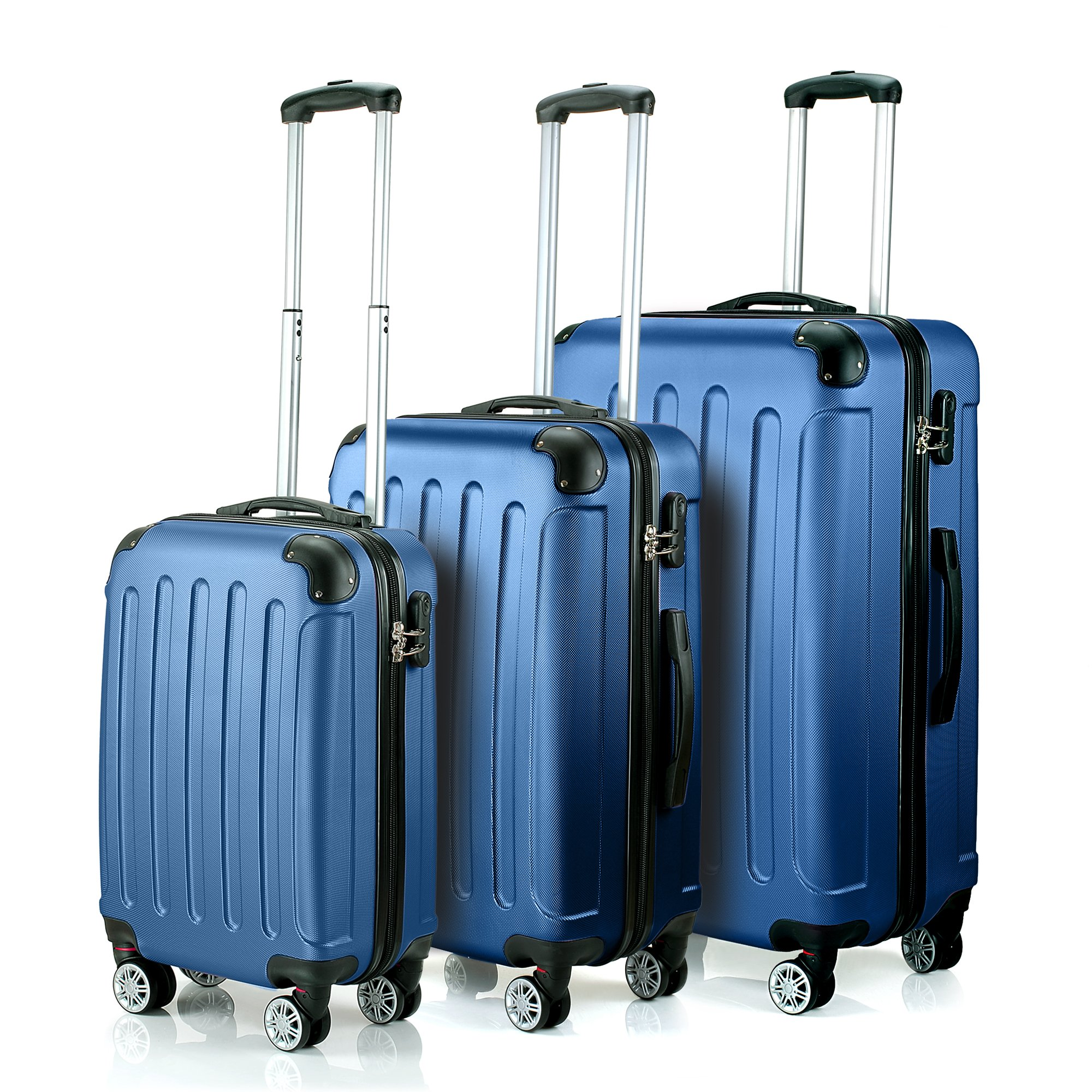 Timmari Hard Lightweight ABS Luggage Set – 29'' + 26'' + 21'' Premium Quality Sturdy & Durable Hardshell - Double Wheels & Protected Corners – Ultra Strong Zipper & Number Lock (Sky Blue)