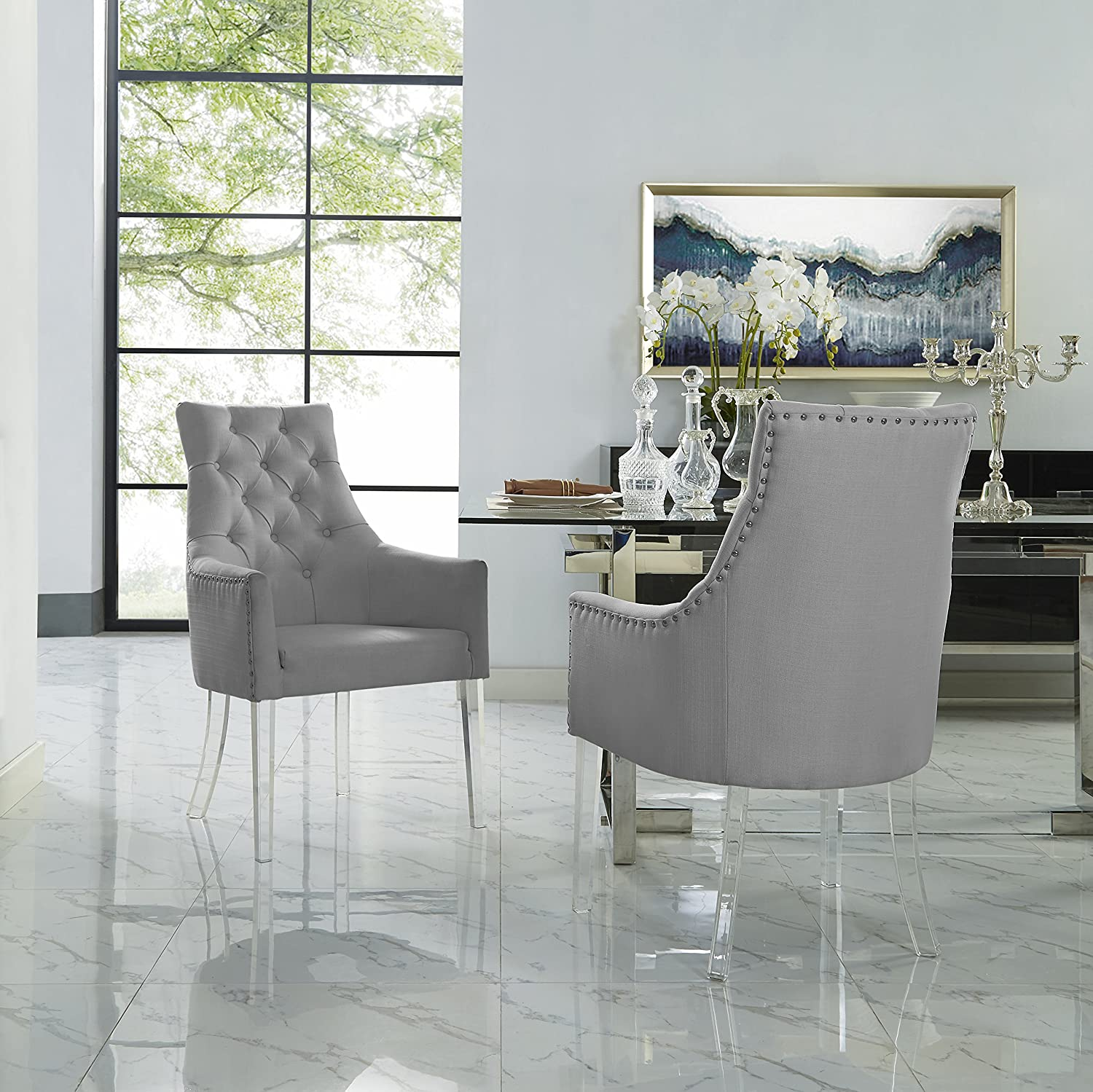 Marilyn Light Grey Dining Chair Linen Set of 2 Tufted Acrylic Leg Inspired Home