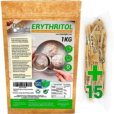 Eritritol 100% Natural Envase Ecologico 1Kg Edulcorante Cero Calorias | +Obsequio 15 sobres de Edulcorante Moreno | Ideal para Reposteria, y Dietas |DULCILIGHT el sabor natural del azúcar.