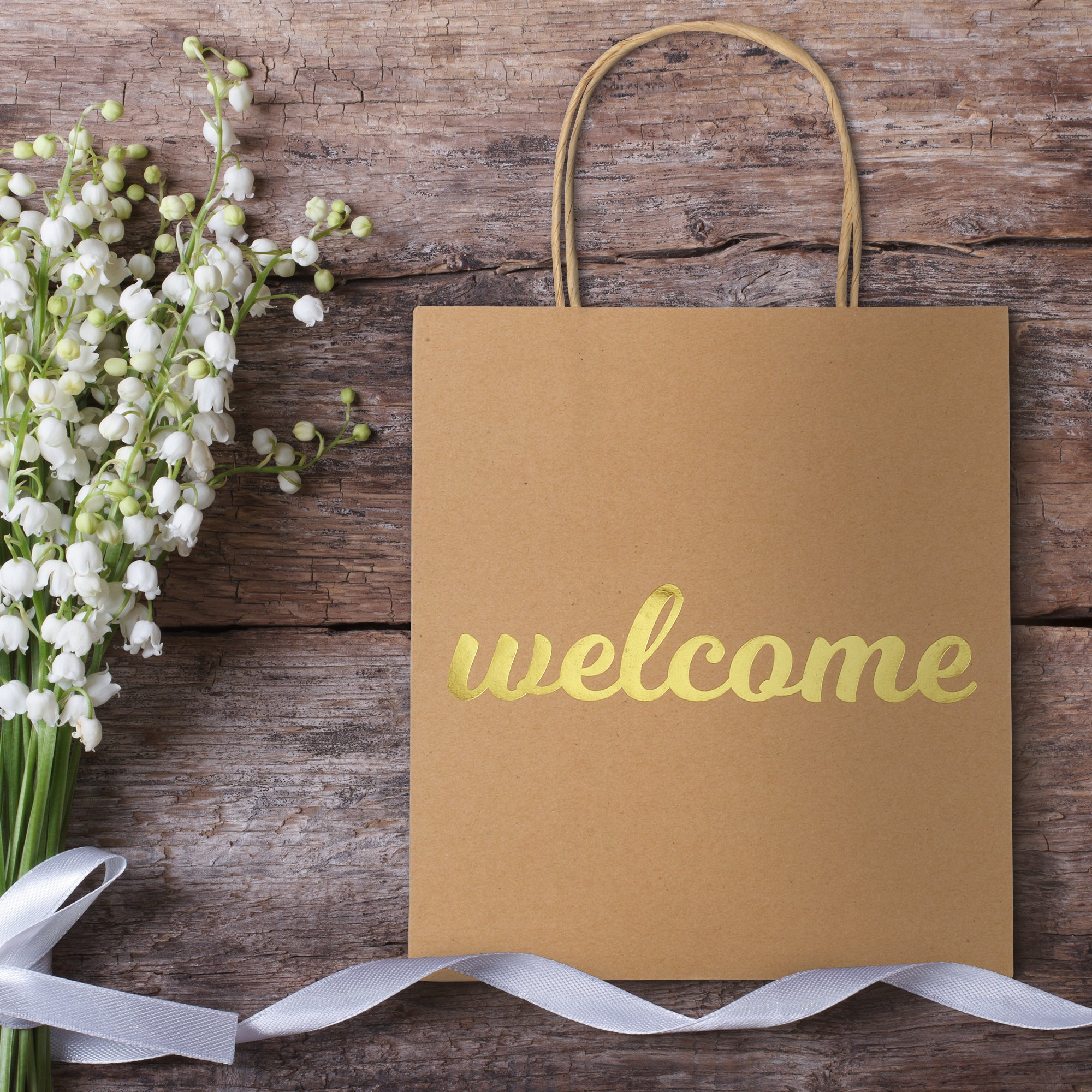 Welcome Bags for Wedding Guests - High Quality Kraft Paper Bags Bulk Perfect as Wedding Welcome Bags for Hotel Guests - Excellent to Present Wedding Favors for Guests (10-Pack)