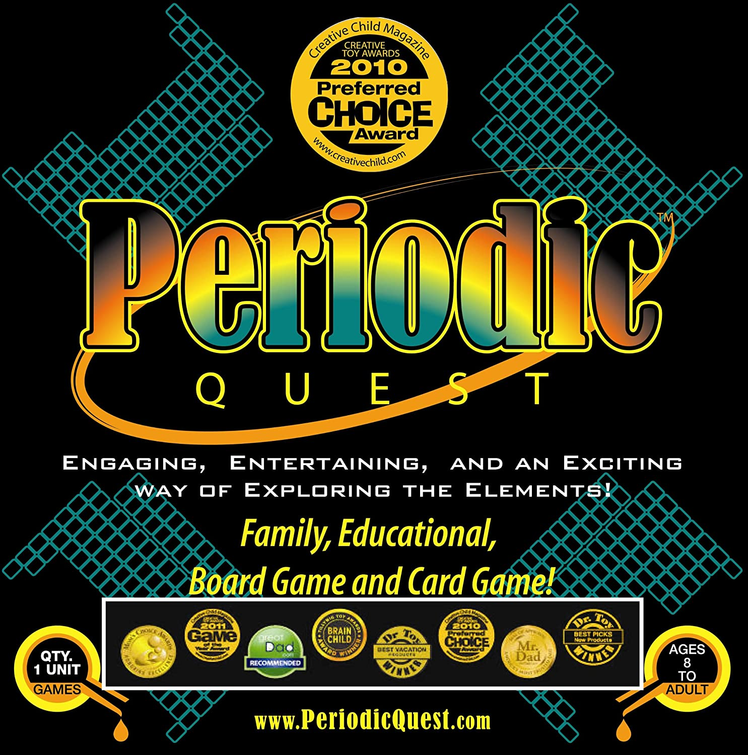 Amazon periodic quest a family educational card and board amazon periodic quest a family educational card and board game set with more than 6 card games and board games based on the periodic table of gamestrikefo Image collections