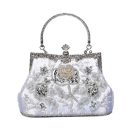 af41488de8 BAIGIO Pochette Donna Elegante Argento, Clutch Cerimonia Vintage Borsetta  da Sera Raso Ricamata Borsa a