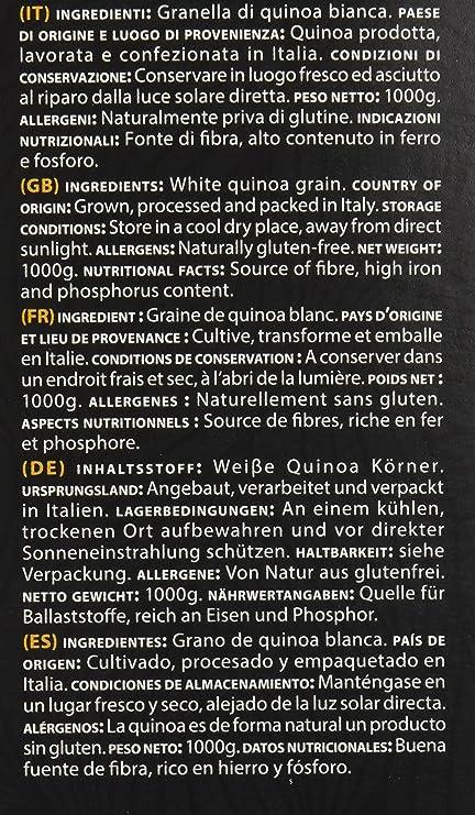Quinoa Italia granella de Quinoa - Paquete de 12 x 1 kg - integrado color 12 kg: Amazon.es: Alimentación y bebidas
