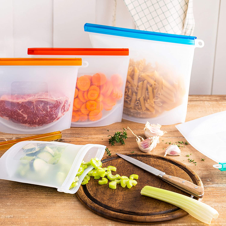 Reusable Silicone Food Bag (4 Pack) Reusable Silicone Food Storage Bag - Silicone Storage Bags Reusable Silicone Bags Reusable Storage - Reusable Silicone Food Storage Bags Reusable Silicone Food Bags