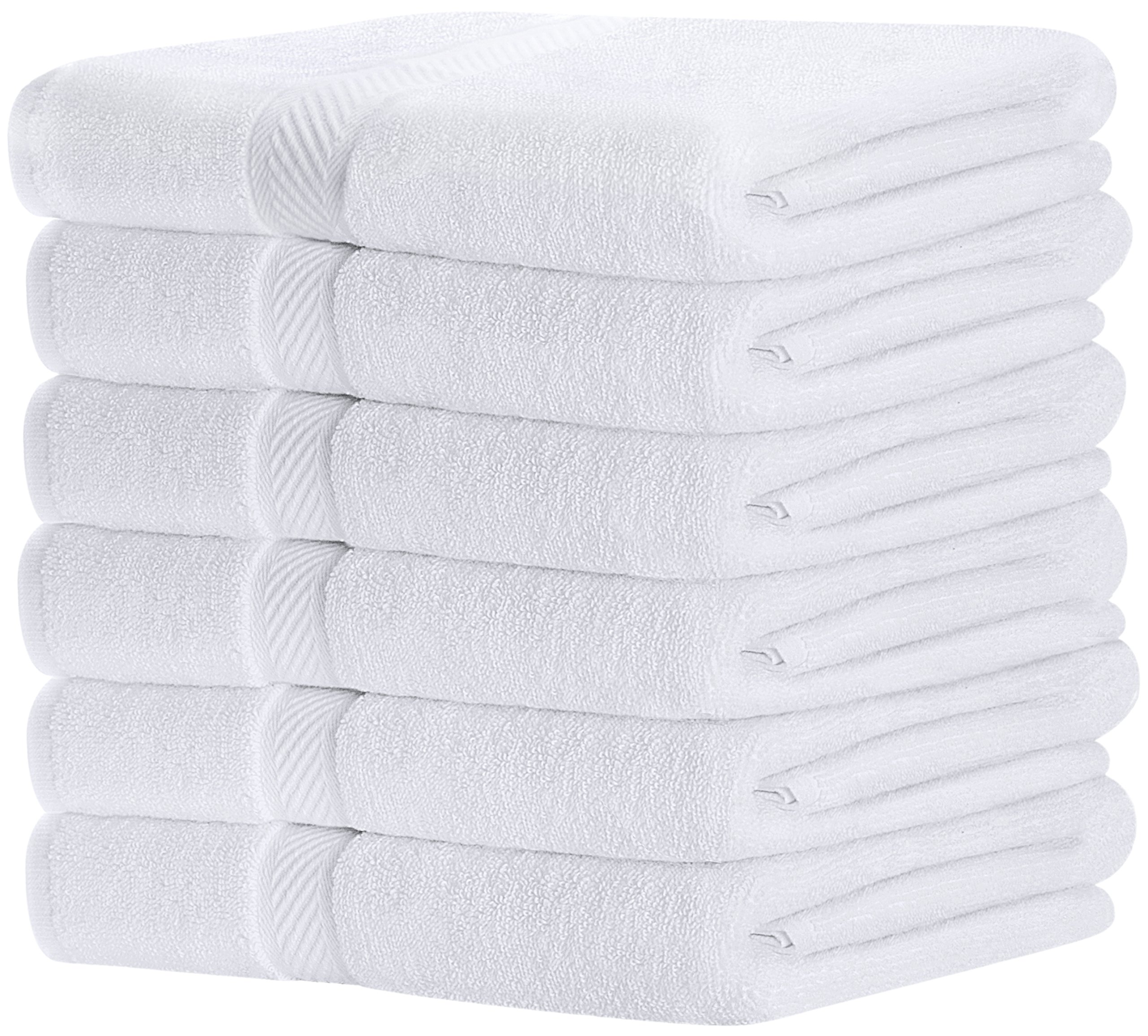 Utopia Towels 100% Cotton White Bath Towels Set (6 Pack, 22 x 44 Inch) Lightweight High Absorbency, Multipurpose, Quick Drying, Pool Gym Towels Set