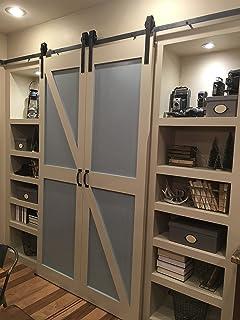 double door sliding barn door hardware kit with 12 feet track for two doors rustic antique