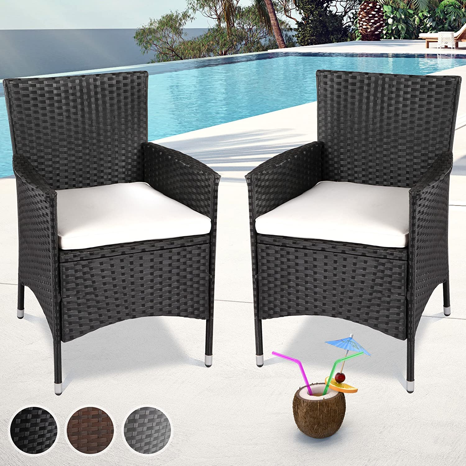 Miadomodo Set of Polyrattan Chairs with Seat Cushions (Choice of Colour and Set) Garden Armchairs Outdoor Patio Furniture (Set of 2 pcs, Brown)