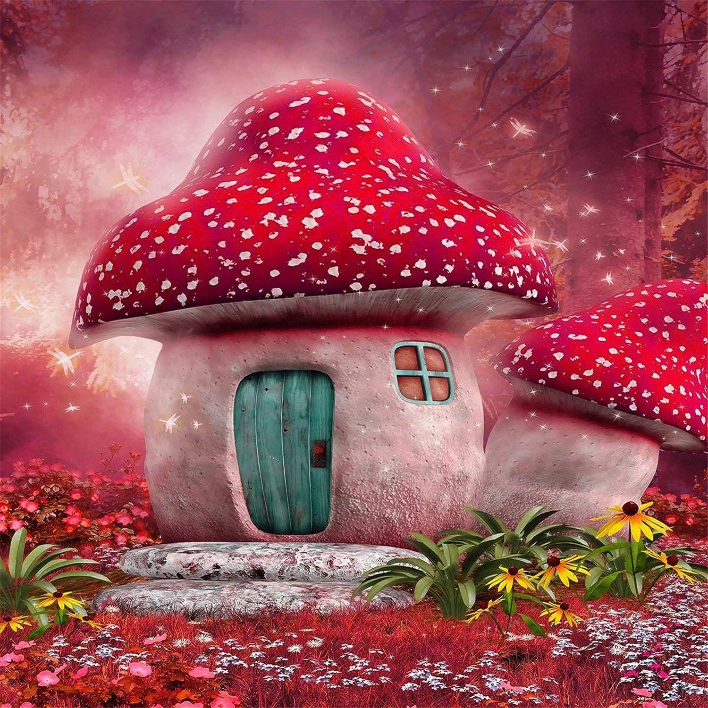 レッドBackdrops for Photography Spring Fairy Tale背景マッシュルーム城バックドロップShooting 10x10ft 10x10ft  B078K6B2B5