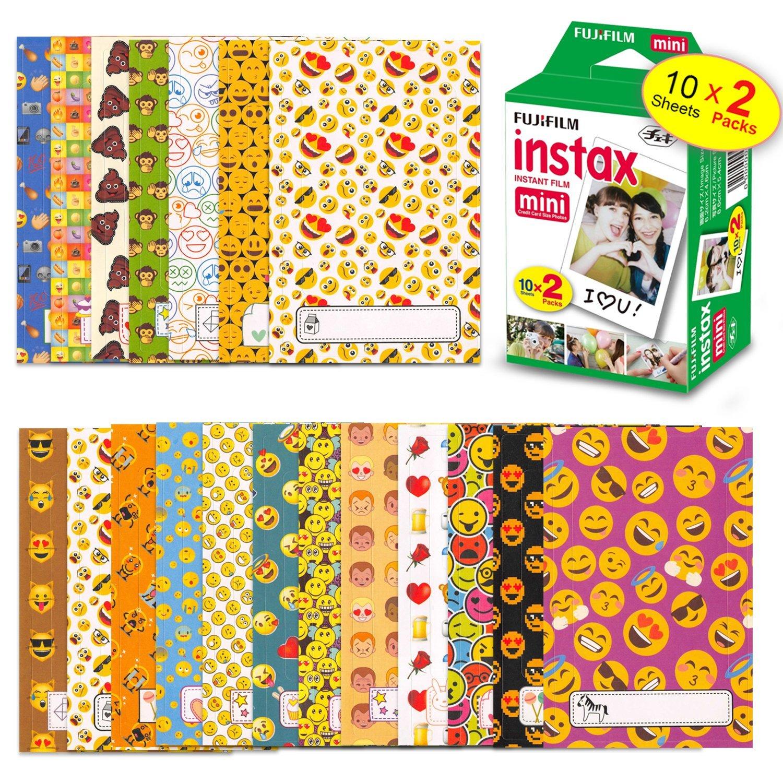 FujiFilm Instax Mini Instant Film 1 Pack - 20 Sheets + Fuji Mini 9 EMOJI Sticker Frames for FujiFilm Instax Mini 9 / 8 Cameras