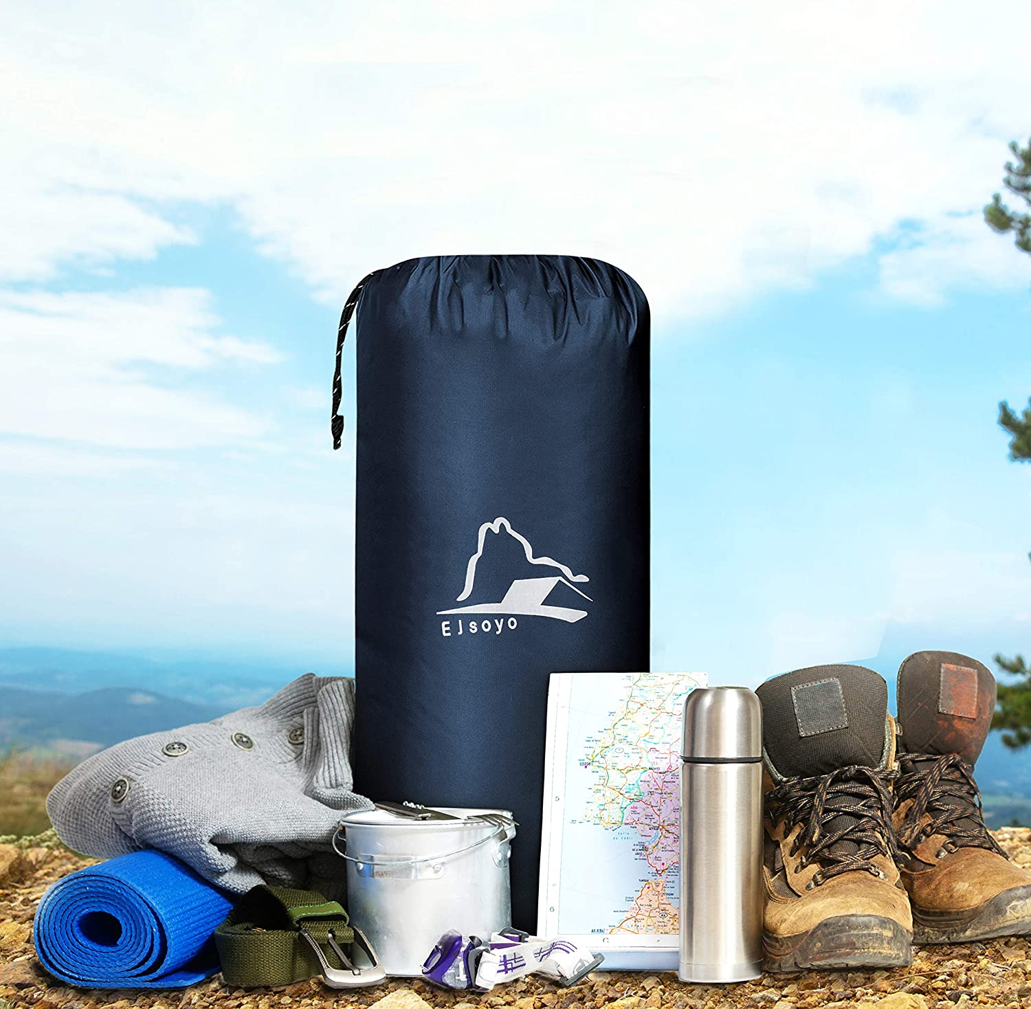 Ultralight 19.4 OZ,New Upgrade Camping Sleeping Pad with Built-in Inflator,Great for Backpacking EJsoyo Camping Sleeping Pad