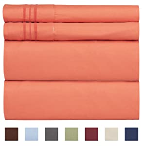 Queen Size Sheet Set - 4 Piece Set - Hotel Luxury Bed Sheets - Extra Soft - Deep Pockets - Easy Fit - Breathable & Cooling - Wrinkle Free - Comfy – Coral Bed Sheets - Queens Sheets – 4 PC