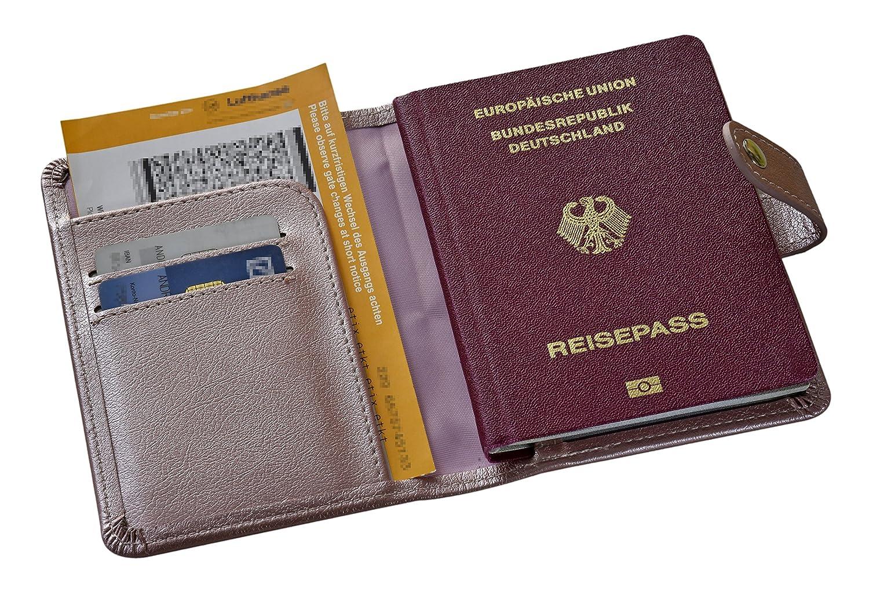 Reisepassh/ülle Passh/ülle Schutzh/ülle Brieftasche mit RFID Schutz Ros/é Cover f/ür Pass Kreditkarte und Boardkarte Kunstleder Reisepass Schutz mit eingepr/ägtem Wappen Deutschlands