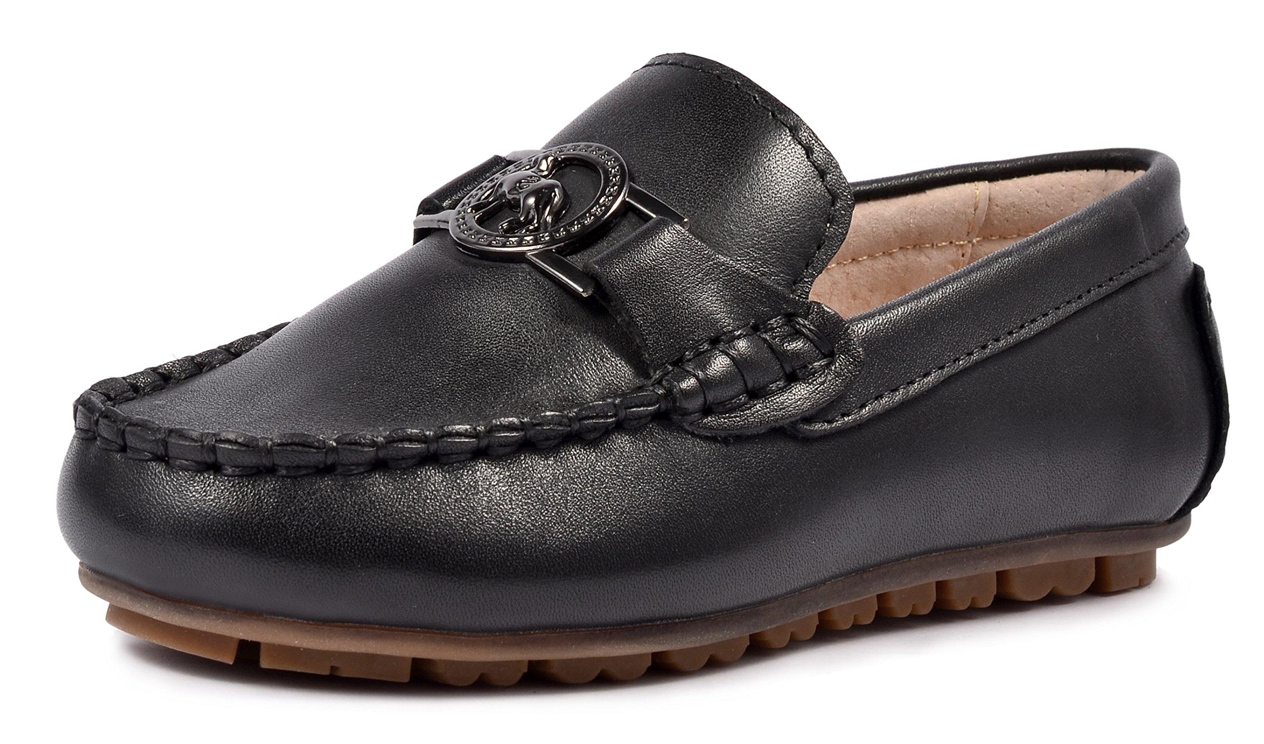 LIYZU Boy's Leather Distressed Loafers Dress Oxford Shoes (Toddler/Little Kid/Big Kid) US Size 12.5 Black