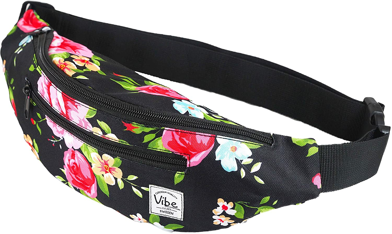 Vibe Festival Gear Fanny Pack for Men Women - Many Prints - Black Holographic Silver Gold Cute Waist Bag for Festival Rave Hiking Running Cycling