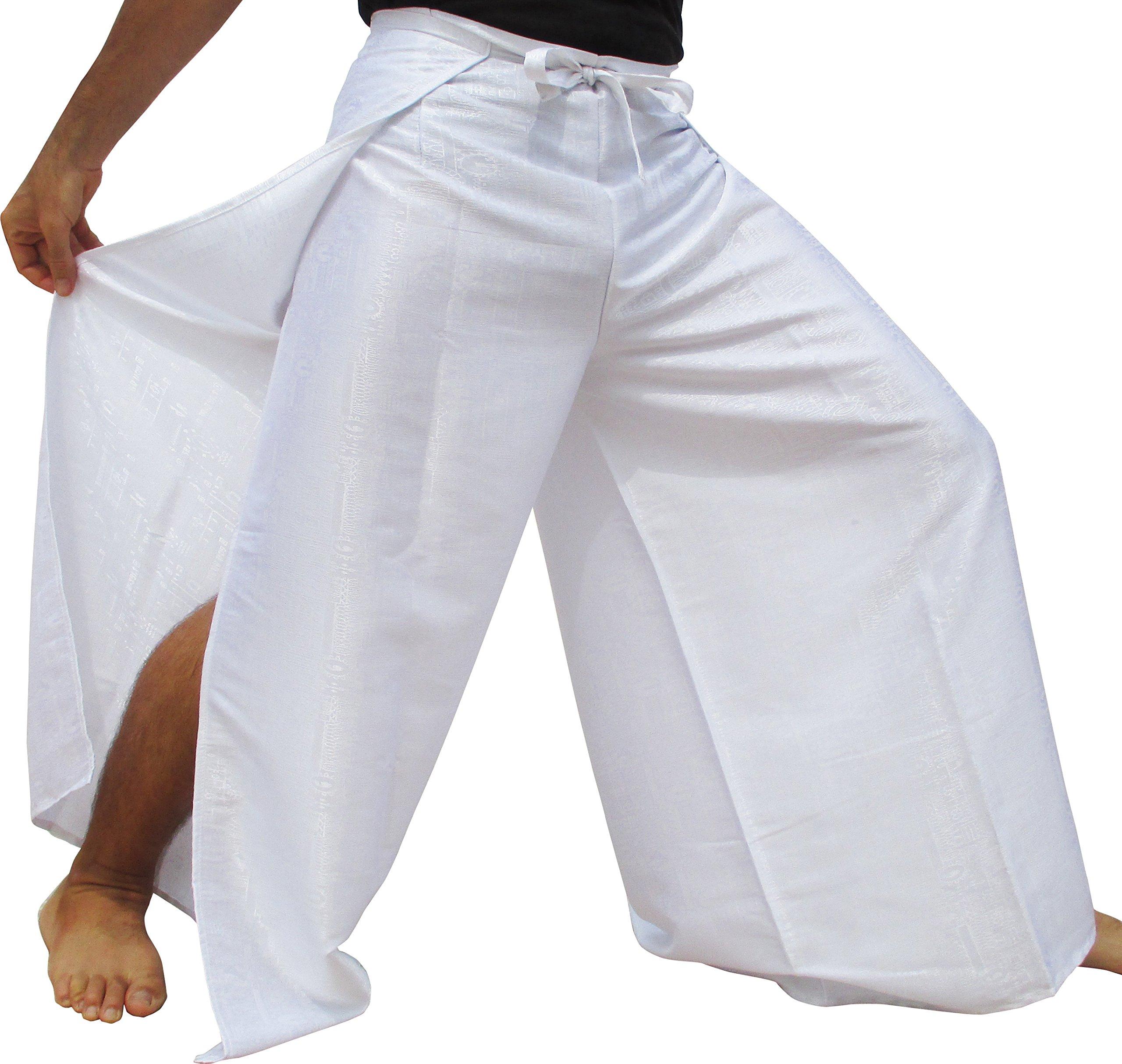 RaanPahMuang Brand Geometric Thick Textured Silk Drive in Wrap Pants, XX-Large, White by RaanPahMuang
