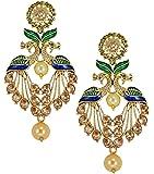 Zaveri Pearls attractive Peacock Design Pearl Drop Earring For Women - ZPFK5454