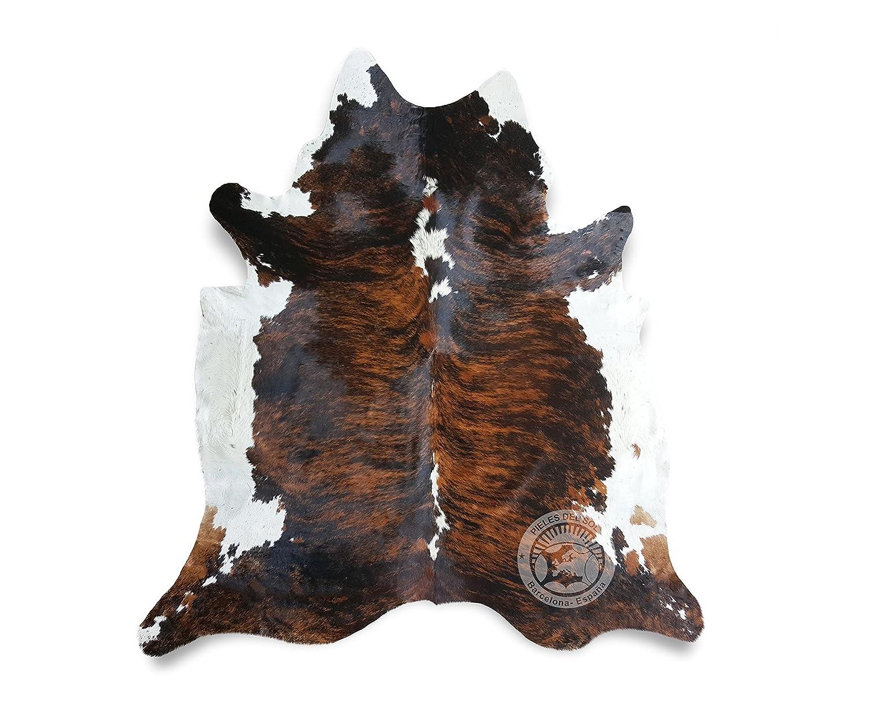 Teppich aus Kuhfell, Farbe  Tiger Dunkel dreifarbig, Größe circa 180 x 240 cm, Premium - Qualität von Pieles del Sol aus Spanien