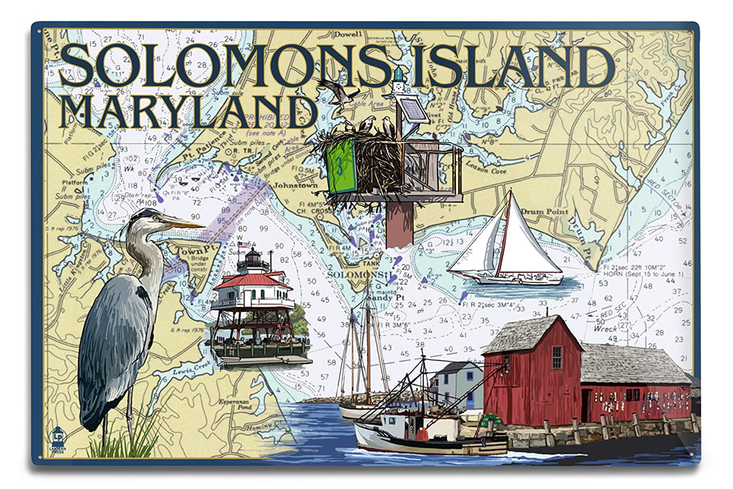 Solomons島、メリーランド州 – Nautical Chart 12 x 18 Metal Sign LANT-33994-12x18M B06Y1FF14T 12 x 18 Metal Sign12 x 18 Metal Sign