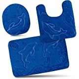 Bathroom Rug Mats Set 3 Piece - Memory Foam Extra Soft Shower Bath Rugs – Contour Mat and Lid Cover - Perfect Combination of Luxury and Comfort - Royal Blue