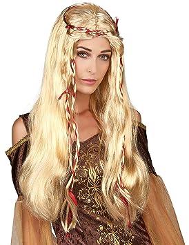 Peluca rubia medieval para mujer: Amazon.es: Juguetes y juegos