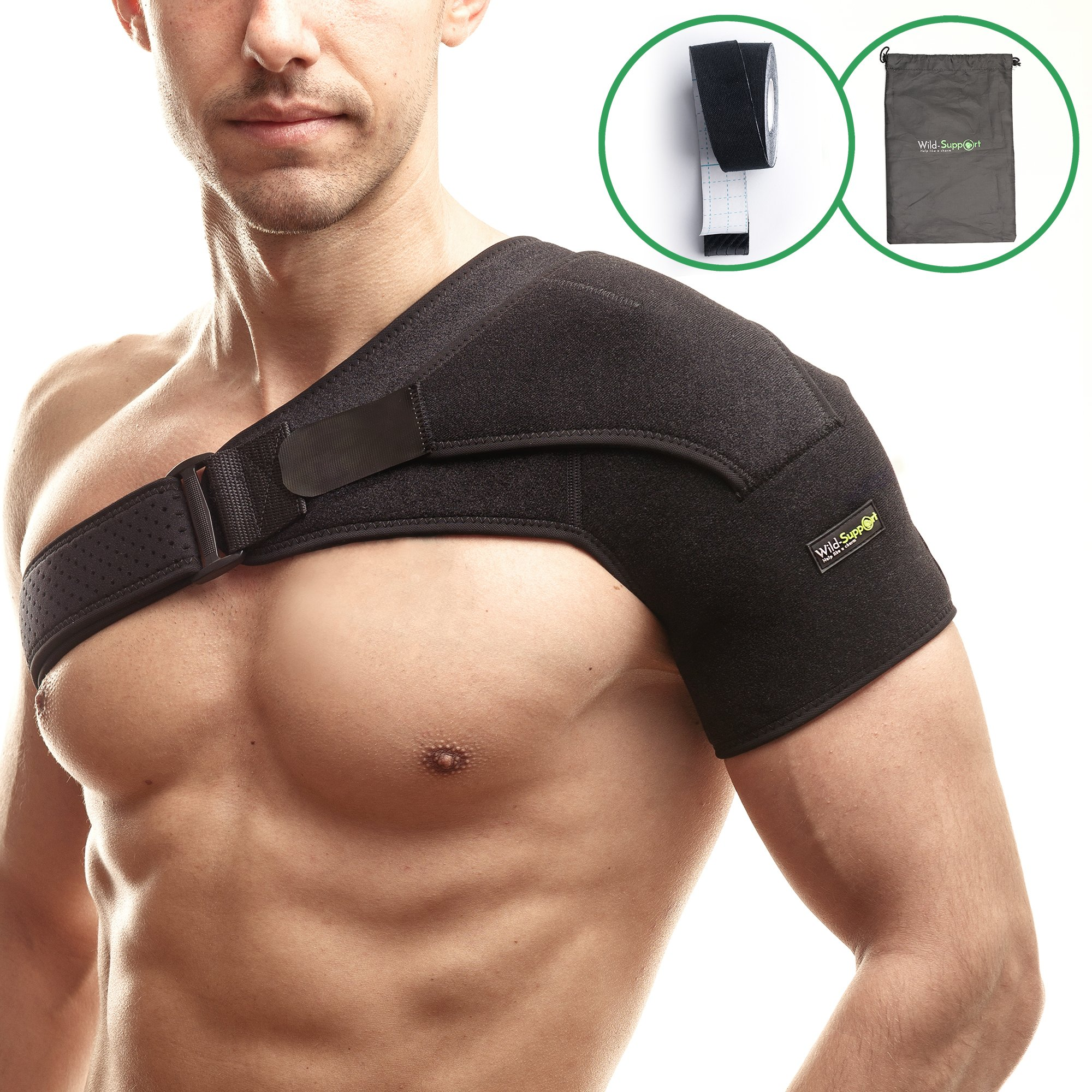 Shoulder Support Brace with Pressure Pad for Rotator Cuff - High Quality Breathable Neoprene Shoulder Wrap – Adjustable Strap by Wild-Support (+Bonus: Kinesiology Tape, Bag, eBook and User Guide)