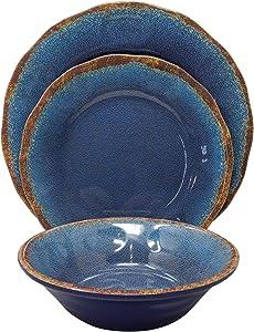 Gianna's Home 12 Piece Rustic Farmhouse Melamine Dinnerware Set (Blue)