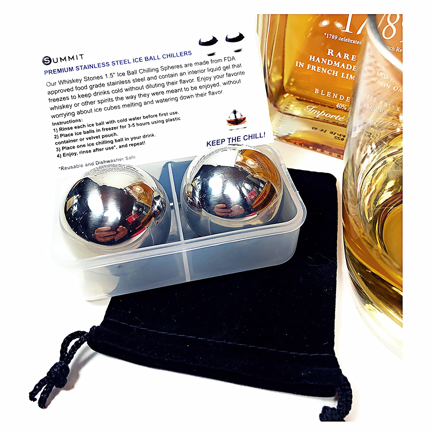 Whiskey Stainless Steel Balls Drink Chillers Gift Set of 2 Large Ice Balls, Velvet Bag, Freezer Container & Product Info Card   Retain Full Flavor & Chill   Whiskey Wine Vodka Spirits Coolers SUMMIT